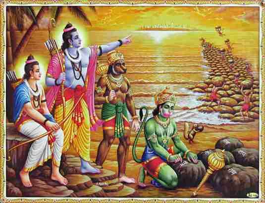 Hanuman & Vaanar sena (army of monkeys) build bridge of floating rocks on water