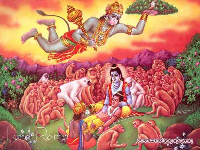 Hanuman saves Lakshman with Sanjeevani plant