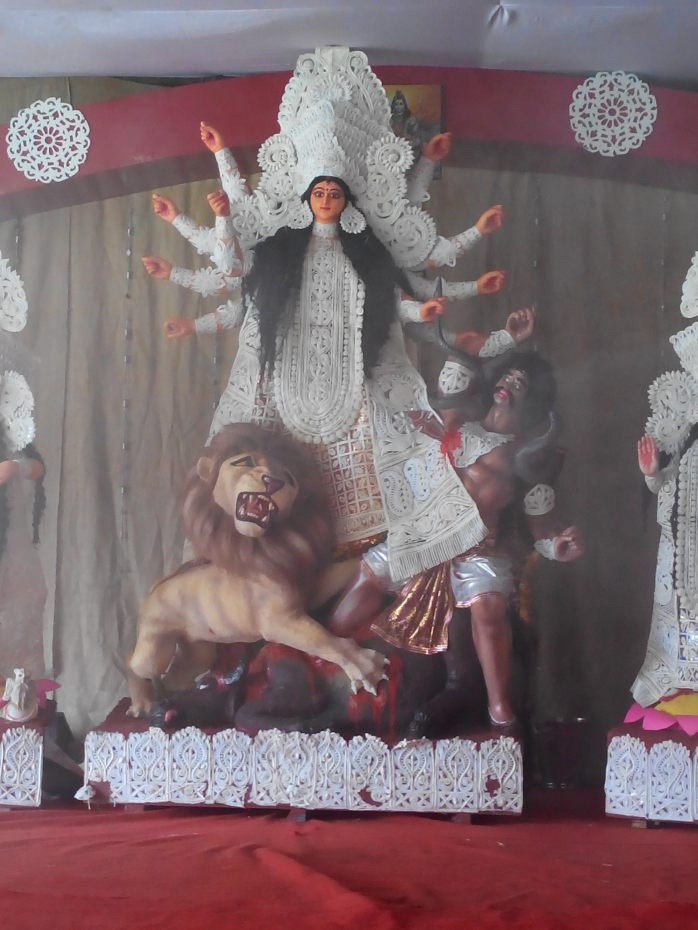 Maa Durga 'durgotinashini' before the weapons are given in her hands on saptami