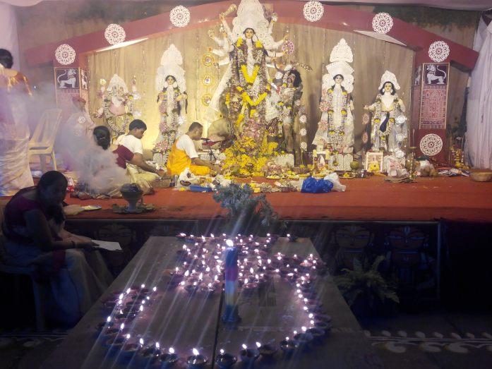 Ongoing sandhi pooja on Durga ashtami