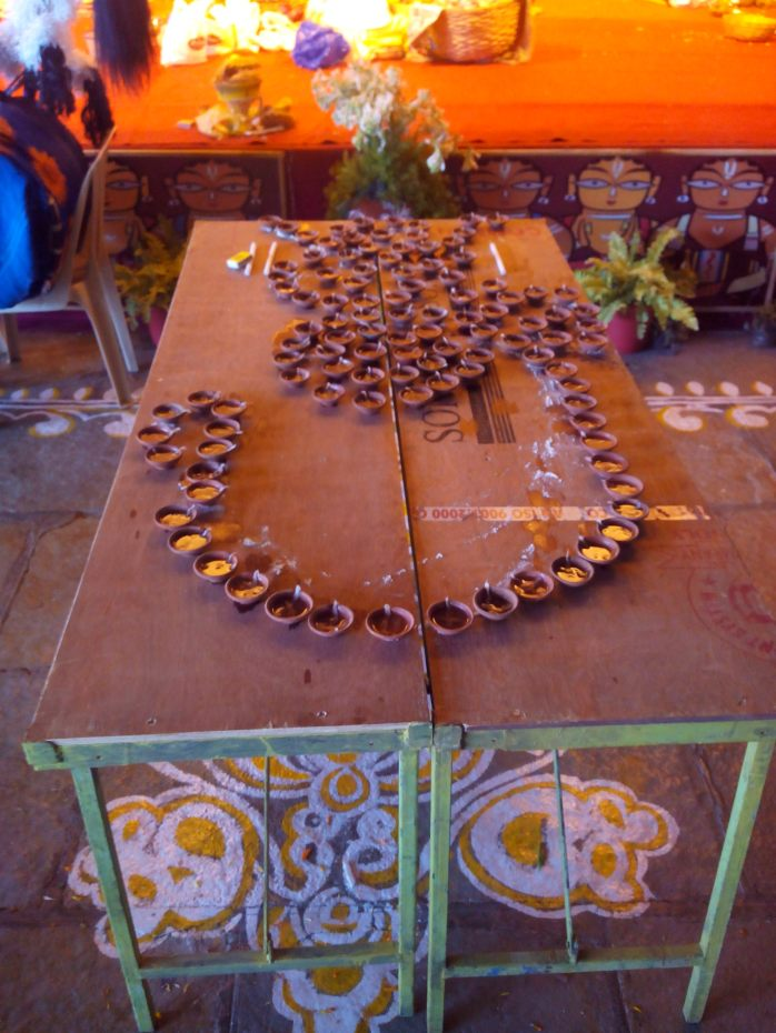 The 108 earthen lamps required for sandhi pooja during Durga pooja on the 8th day of the festival