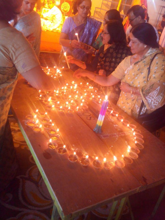 The 108 lighted earthen lamps for sandhi pooja, Durga ashtami