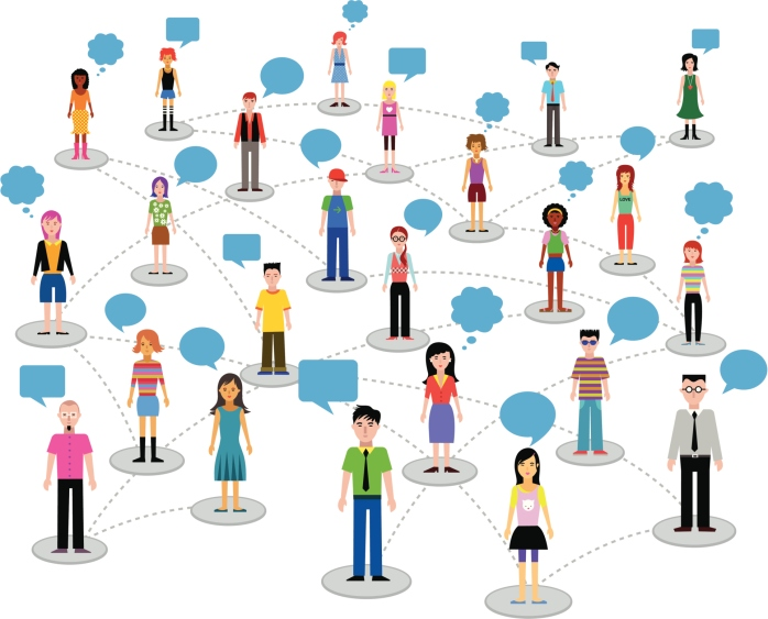 Social networking - people and speech bubbles