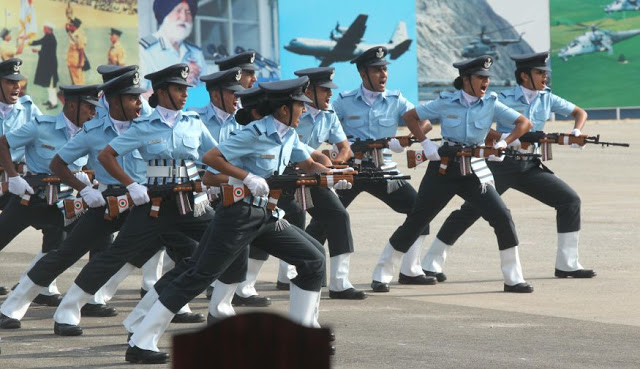 IAF Trainee Officers performing Continuity Drill during the Passing Out Parade held at AFTC in Bangalore