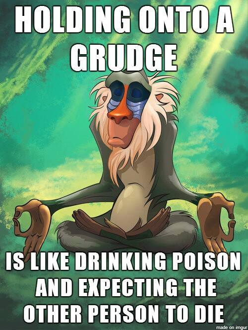 Monkey meditating in jungle in cave cartoon - holding onto a grudge is like drinking poison and expecting the other person to die