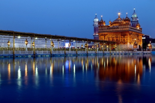 The Golden Temple (Gurudwara) on the lake in Amritsar, Punjab