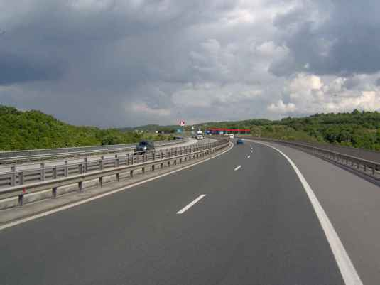 Trakiya highway in Bulgaria